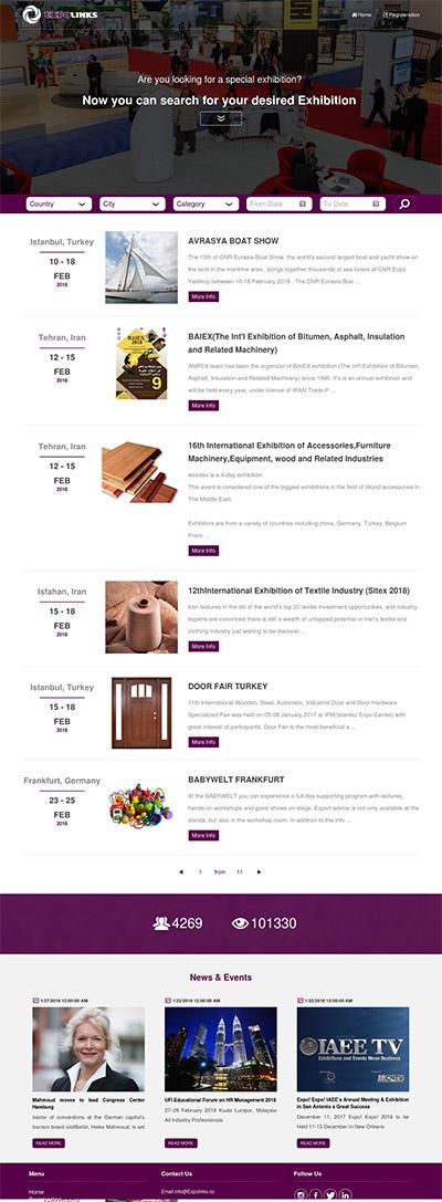 طراحی وبسایت شرکت اکسپولینکس سوئد